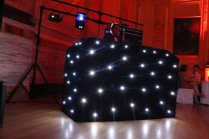Three sides of the table covered with the LED DJ Booth